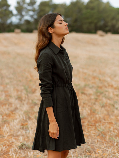 Releve Fashion Oramai London Amalfi Short Linen Dress Black Ethical Designers Sustainable Fashion Brands Eco-Age Brandmark Purchase with Purpose Shop for Good