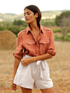 Releve Fashion Oramai London Terra Lamu Linen Button Down Shirt Ethical Designers Sustainable Fashion Brands Eco-Age Brandmark Purchase with Purpose Shop for Good