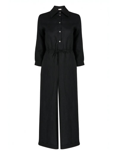 Releve Fashion Oramai London Black Portofino Linen Jumpsuit Ethical Designers Sustainable Fashion Brands Eco-Age Brandmark Purchase with Purpose Shop for Good