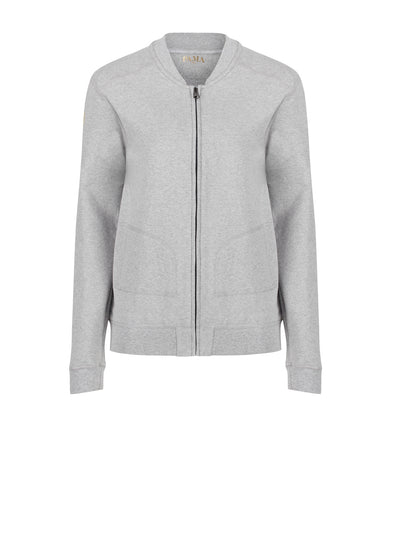 Releve Fashion Pama London Grey Chakra Bomber Jacket Ethical Designers Sustainable Fashion Brand Activewear Athleticwear Athleisure Yoga Positive Fashion Purchase with Purpose Shop for Good