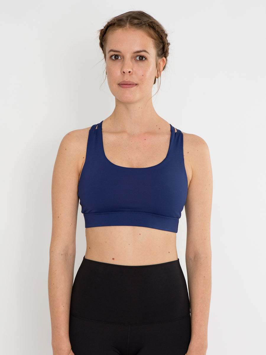 Releve Fashion Pama London Deep Blue Chakra Bra Ethical Designers Sustainable Fashion Brand Activewear Athleticwear Athleisure Yoga Positive Fashion Purchase with Purpose Shop for Good