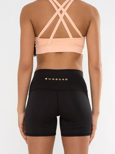 Releve Fashion Pama London Black Chakra Shorts Ethical Designers Sustainable Fashion Brand Activewear Athleticwear Athleisure Yoga Positive Fashion Purchase with Purpose Shop for Good