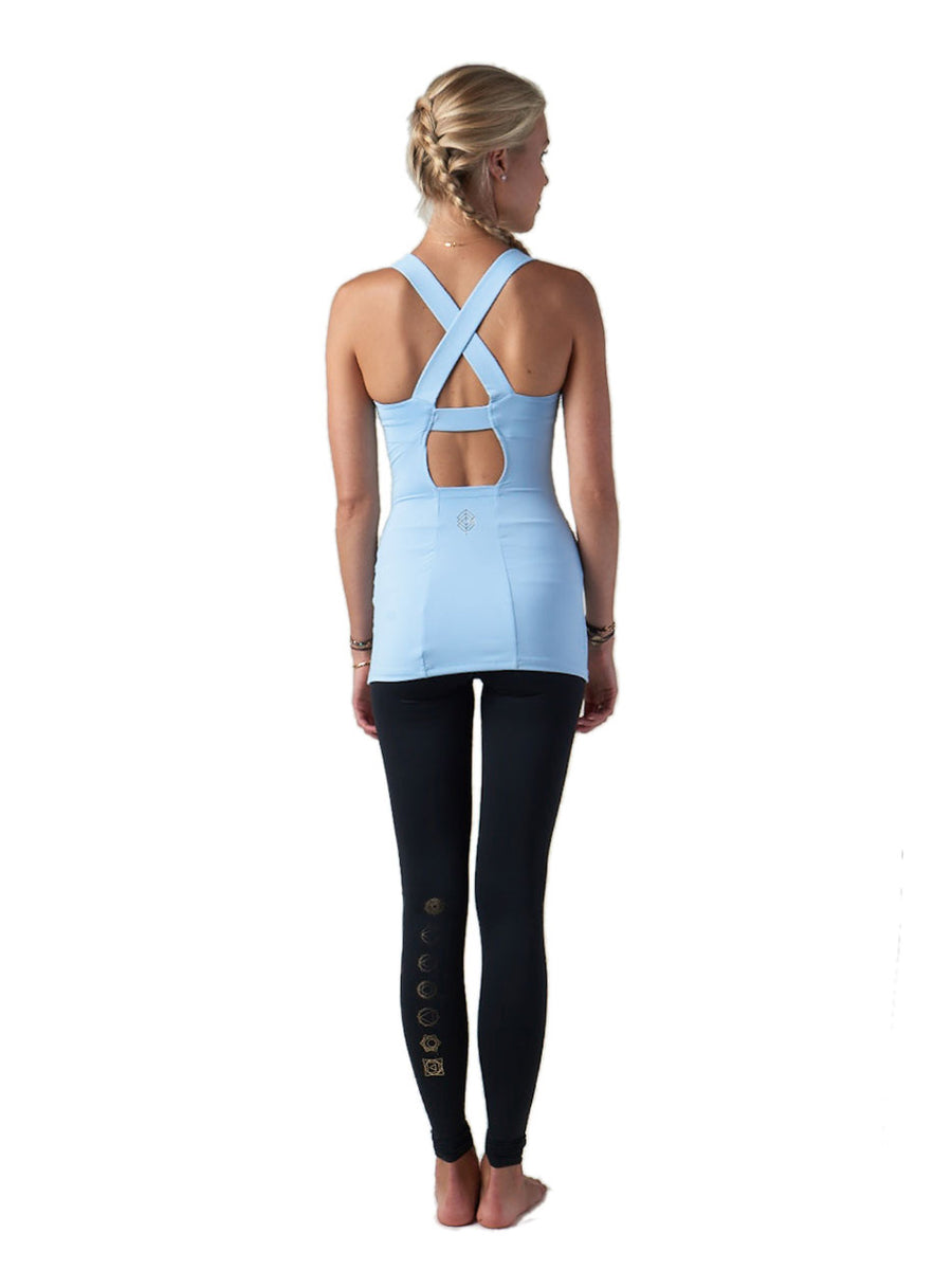 Releve Fashion Pama London Light Blue Chakra Top Ethical Designers Sustainable Fashion Brand Activewear Athleticwear Athleisure Yoga Positive Fashion Purchase with Purpose Shop for Good