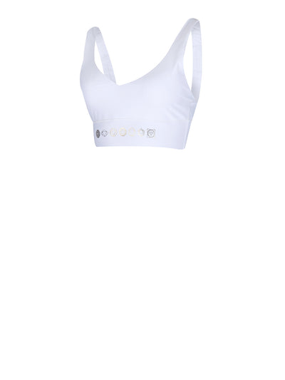 Releve Fashion Pama London Balance Chakra White Sports Bra Ethical Designers Sustainable Fashion Brand Activewear Athleticwear Athleisure Yoga Positive Fashion Purchase with Purpose Shop for Good