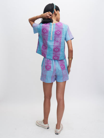 Releve Fashion Piopio Bougainvillea Set Aqua Purple Ethical Designer Sustainable Fashion Brand Handmade Artisan Clothing Purchase with Purpose Shop for Good