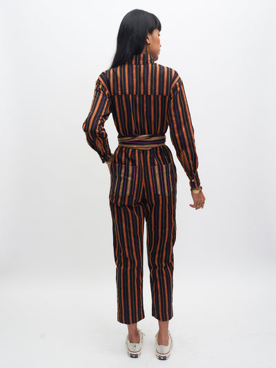 Releve Fashion Malasimbo Jumpsuit Black Orange Ethical Designer Sustainable Fashion Brand Handmade Artisan Clothing Purchase with Purpose Shop for Good