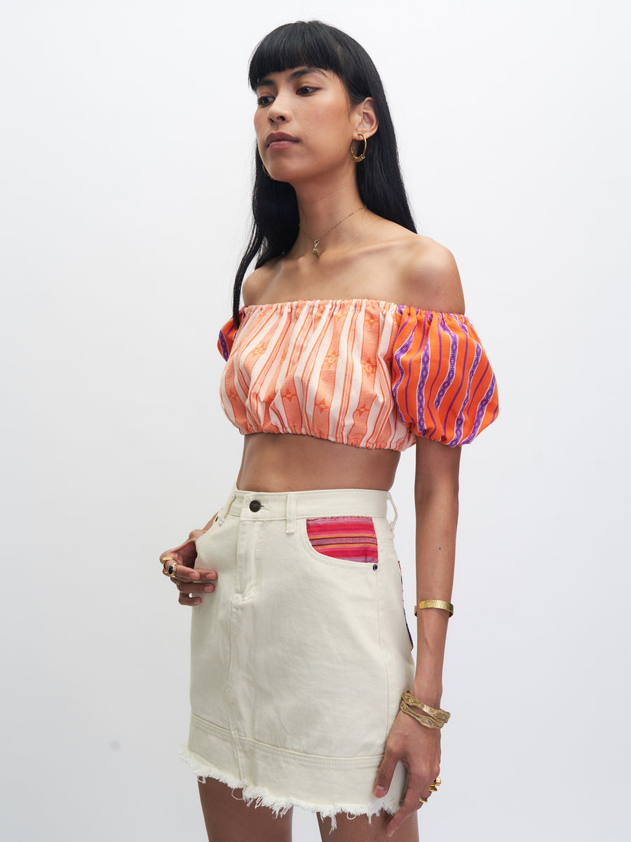 Paruparo Cropped Top, Orange and Beige