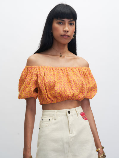 Releve Fashion Piopio Paruparo Cropped Top Orange Pink Ethical Designer Sustainable Fashion Brand Handmade Artisan Clothing Purchase with Purpose Shop for Good