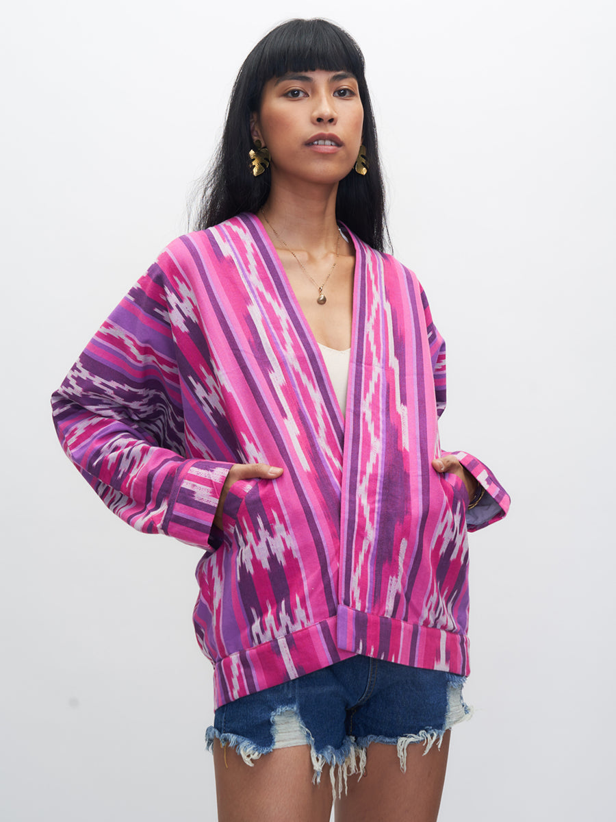 Kabayanihan Jacket, Pink and Purple Ikat