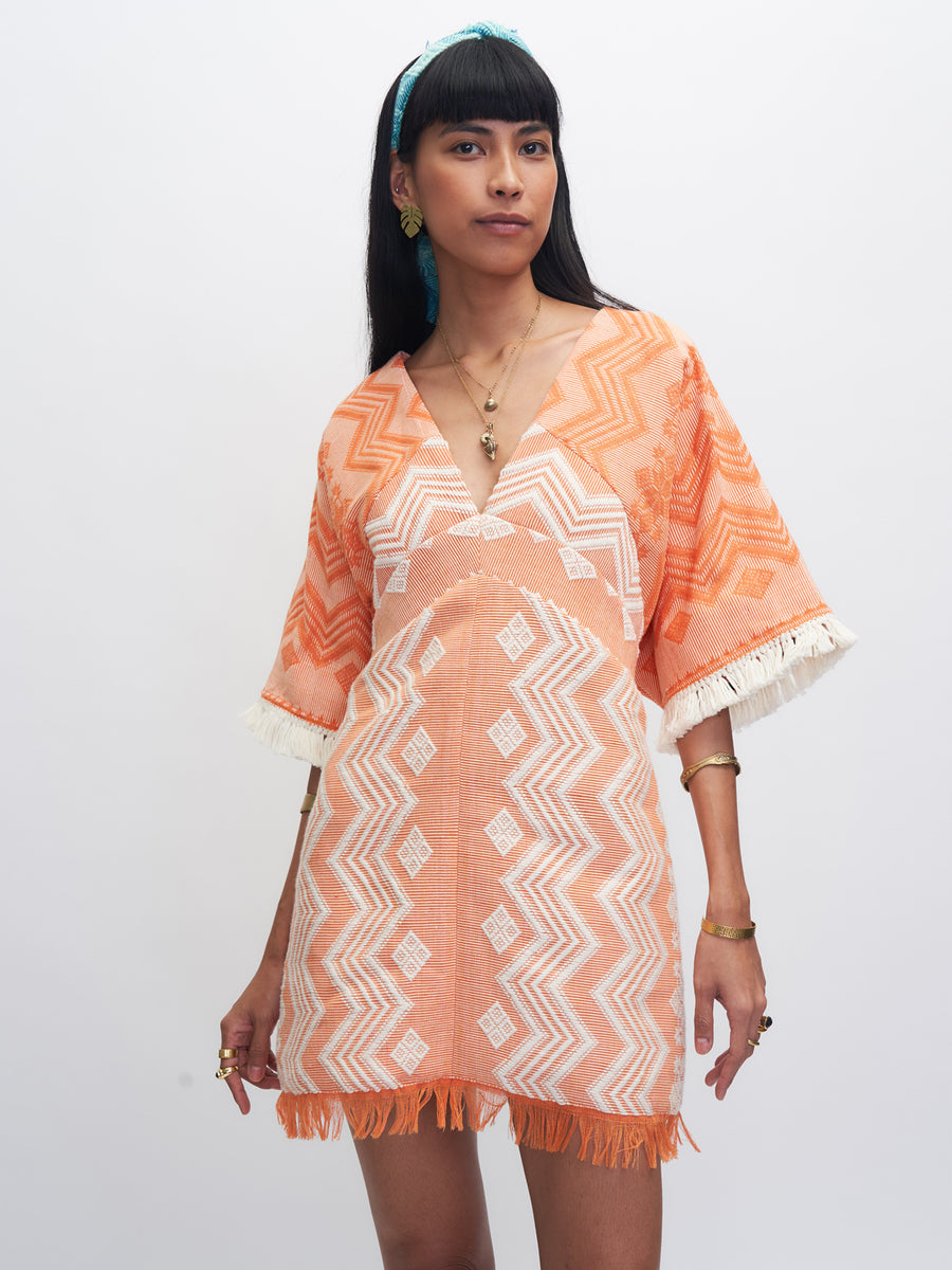 Releve Fashion Rambutan Dress Orange White Ethical Designer Sustainable Fashion Brand Handmade Artisan Clothing Purchase with Purpose Shop for Good