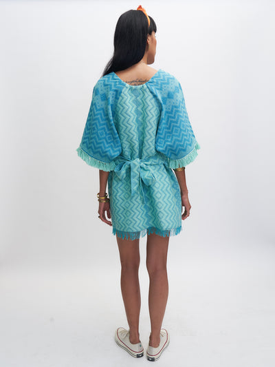 Releve Fashion Rambutan Dress Aqua Teal Ethical Designer Sustainable Fashion Brand Handmade Artisan Clothing Purchase with Purpose Shop for Good