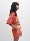 Releve Fashion Saba Dress Orange Purple Ethical Designer Sustainable Fashion Brand Handmade Artisan Clothing Purchase with Purpose Shop for Good