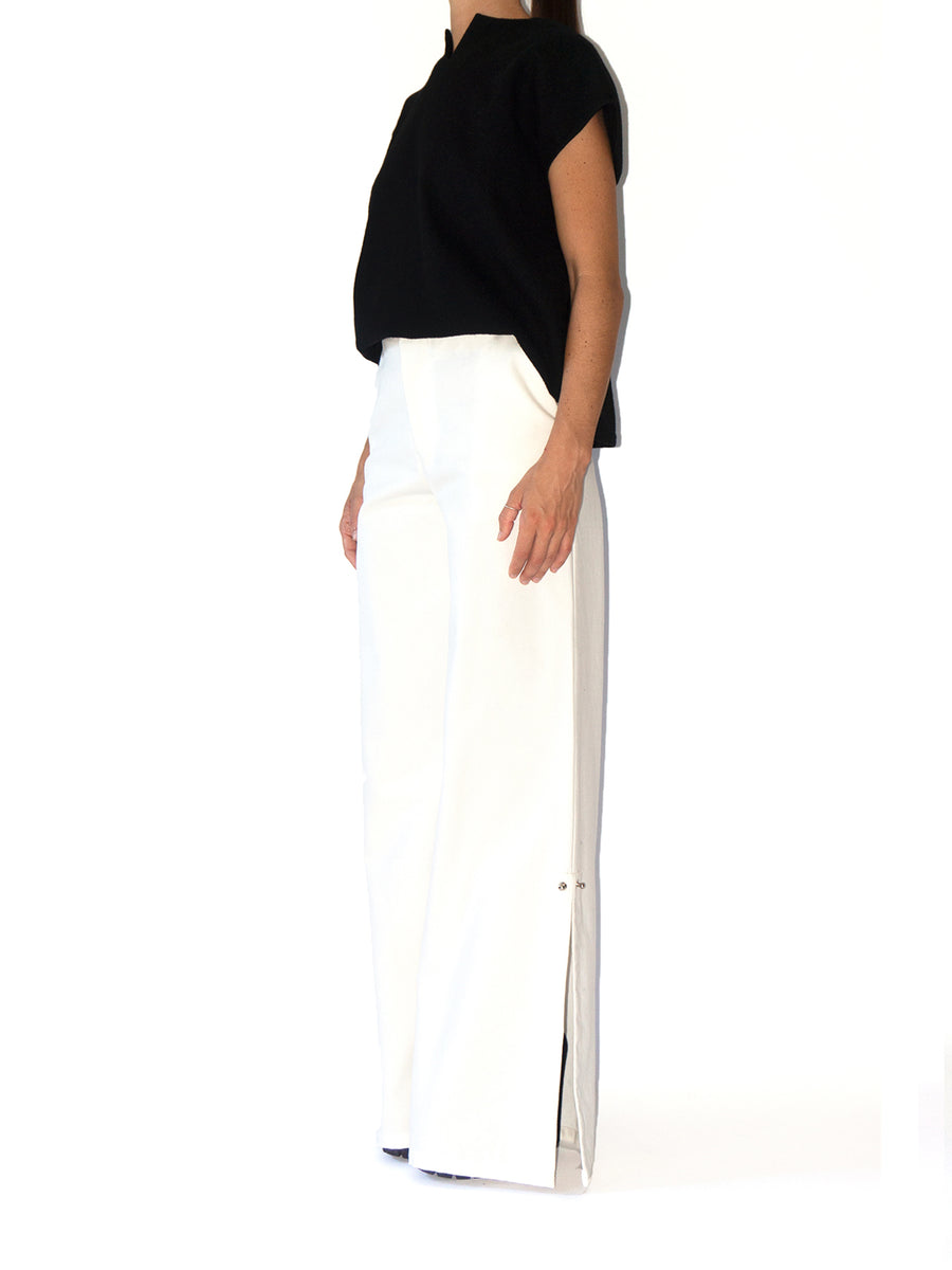 Releve Fashion Port Zienna White Abert Organic Cotton Palazzo Pants Sustainable Luxury Fashion Conscious Clothing Ethical Designer Brand Eco Design Innovative Materials Purchase with Purpose Shop for Good
