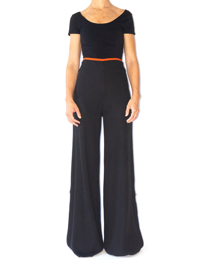 Releve Fashion Port Zienna Black Andria Organic Cotton Waffle Knit Palazzo Pants Sustainable Luxury Fashion Conscious Clothing Ethical Designer Brand Eco Design Innovative Materials Purchase with Purpose Shop for Good
