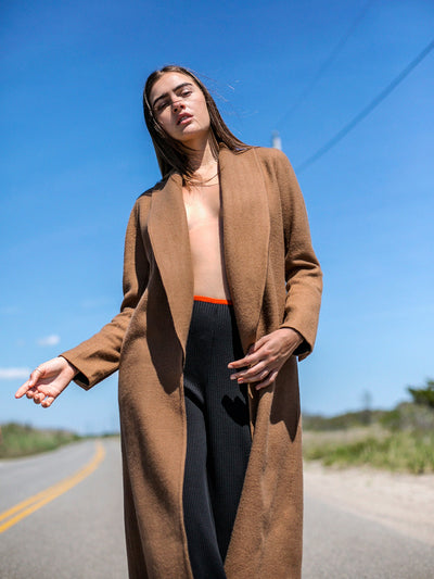 Releve Fashion Port Zienna Long Camel Kyoto Alpaca Coat Sustainable Luxury Fashion Conscious Clothing Ethical Designer Brand Eco Design Innovative Materials Purchase with Purpose Shop for Good