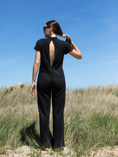 Releve Fashion Port Zienna Black Ella Jumpsuit Sustainable Luxury Fashion Conscious Clothing Ethical Designer Brand Eco Design Innovative Materials Purchase with Purpose Shop for Good