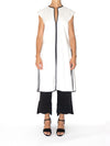 Releve Fashion Port Zienna White and Black Ele Sleeveless A-Line Blouse Sustainable Luxury Fashion Conscious Clothing Ethical Designer Brand Eco Design Innovative Materials Purchase with Purpose Shop for Good