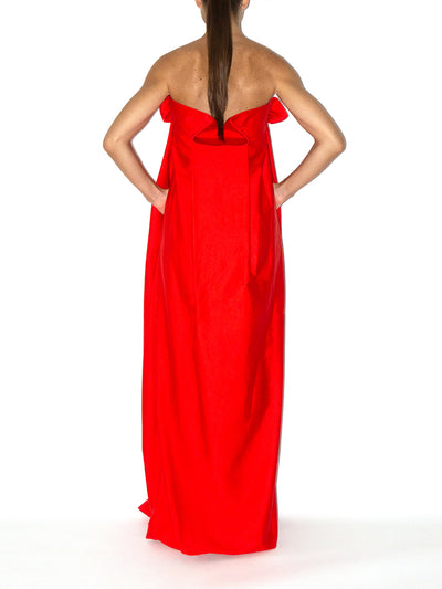 Releve Fashion Port Zienna Red Geisha Strapless Evening Gown Sustainable Luxury Fashion Conscious Clothing Ethical Designer Brand Eco Design Innovative Materials Purchase with Purpose Shop for Good