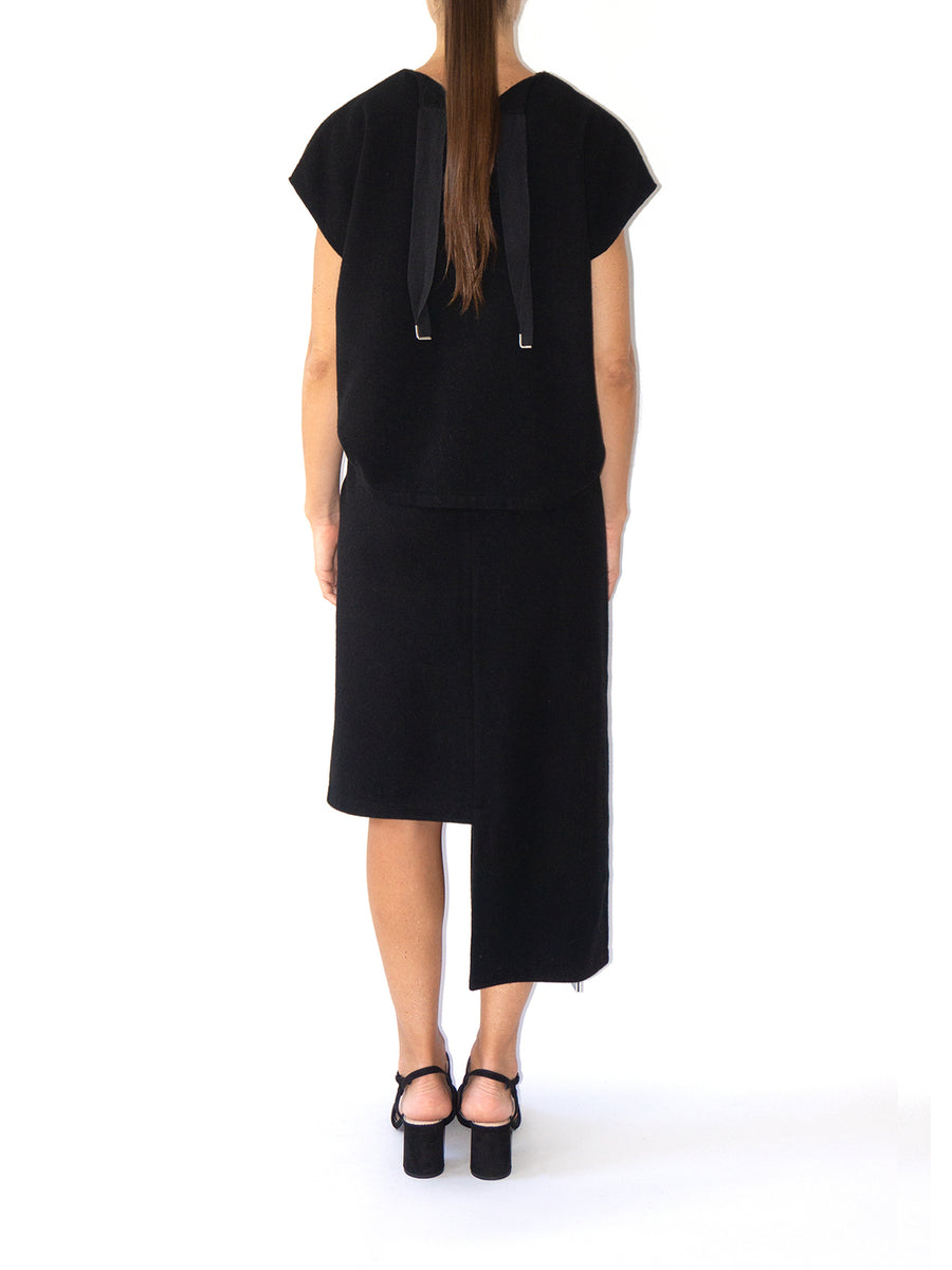 Gres Wool Skirt, Black