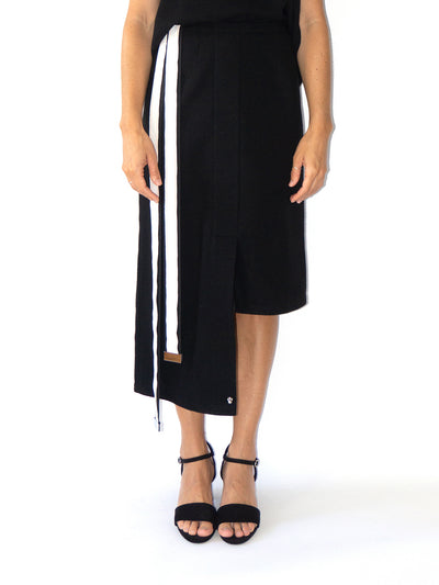 Releve Fashion Port Zienna Black Gres Asymmetrical Mid-Length Wool Skirt Sustainable Luxury Fashion Conscious Clothing Ethical Designer Brand Eco Design Innovative Materials Purchase with Purpose Shop for Good