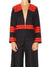 Collarless Ribbon Jacket, Black / Red
