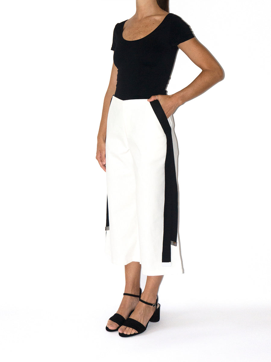 Samurai Cropped Trousers, White / Black