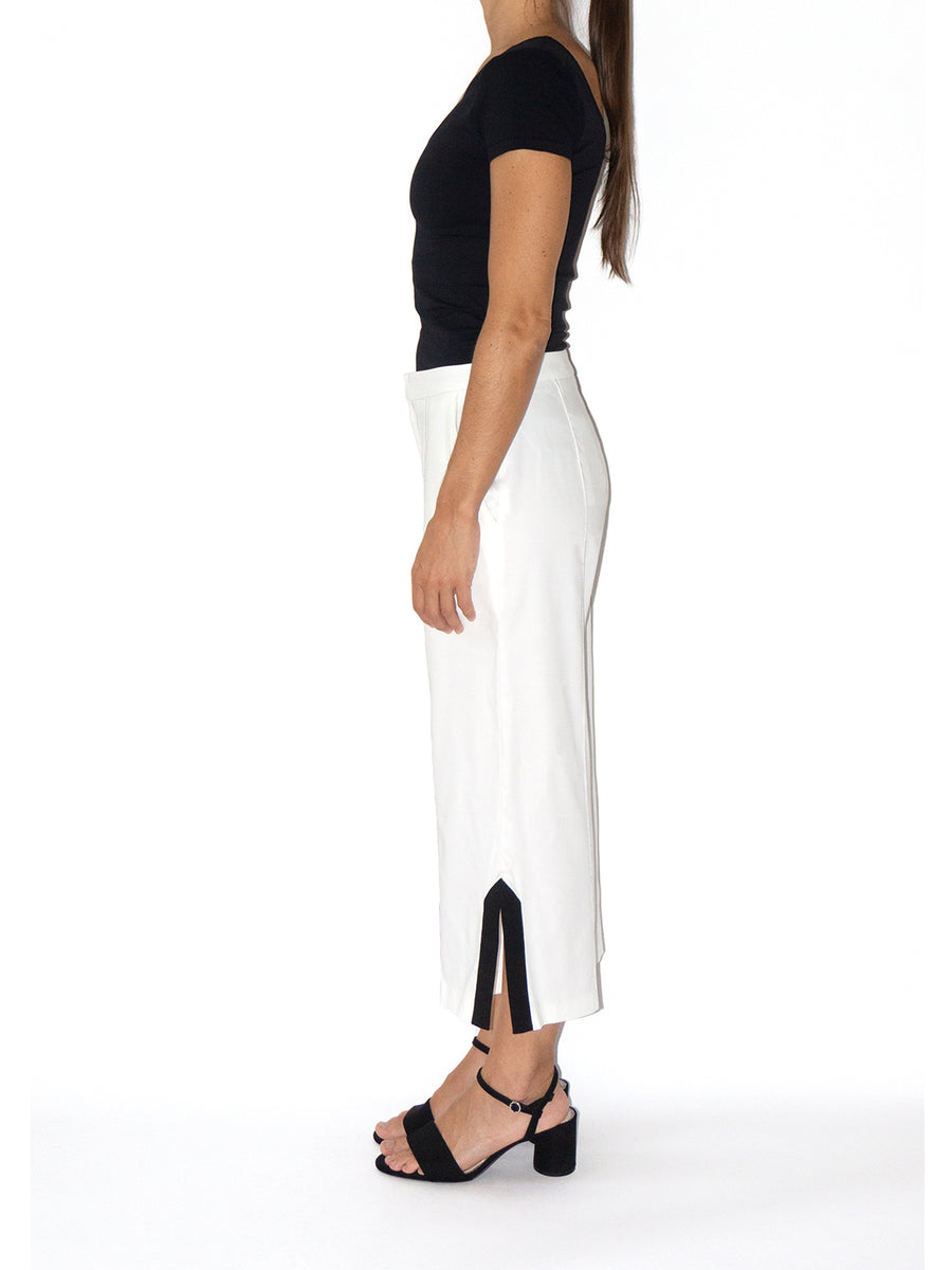 Seam Cropped Trousers, White / Black