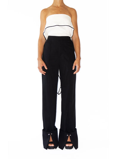 Releve Fashion Port Zienna Black Aurelia Tencel and Twill Palazzo Pants Sustainable Luxury Fashion Conscious Clothing Ethical Designer Brand Eco Design Innovative Materials Purchase with Purpose Shop for Good