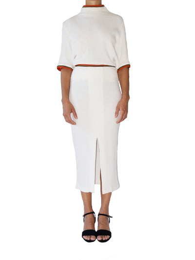 Releve Fashion Port Zienna White Soho Organic Cotton Waffle Knit Skirt Sustainable Luxury Fashion Conscious Clothing Ethical Designer Brand Eco Design Innovative Materials Purchase with Purpose Shop for Good