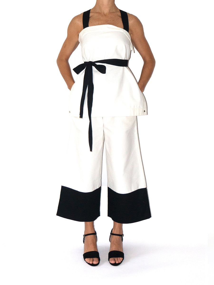 Blanc Wide Leg Organic Cotton Pants, White / Black