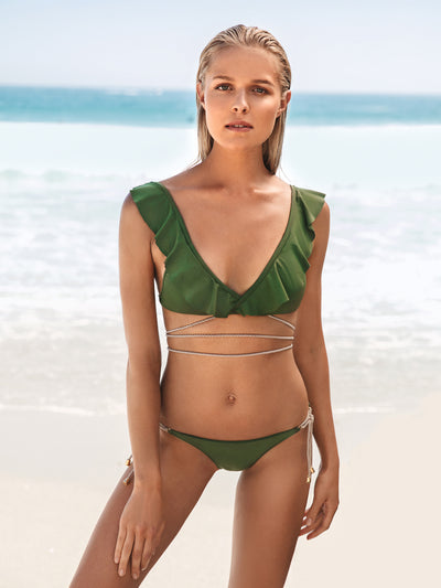 Releve Fashion SixtyNinety Military Green Cuba Libre Top Ethical Designers Sustainable Fashion Brand Beachwear Swimwear Resort Wear Positive Fashion Purchase with Purpose Shop for Good