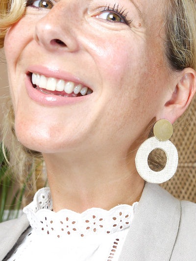 Releve Fashion Soli & Sun Gold and Cream Fran Earrings Ethical Designers Sustainable Fashion Brands Purchase with Purpose Shop for Good
