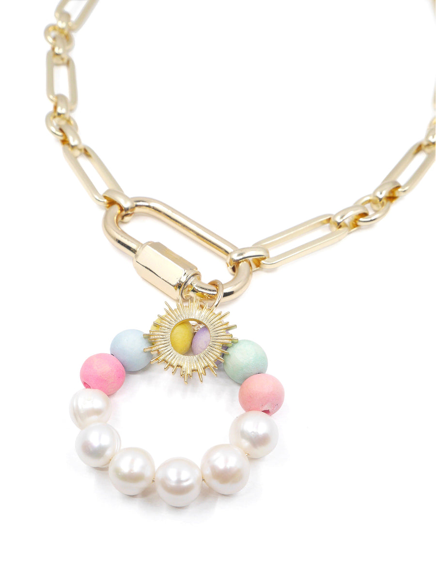 Oriana Large Chain Necklace, Gold / White / Rainbow