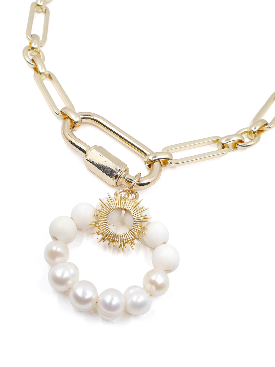 Oriana Large Chain Necklace, Gold / White
