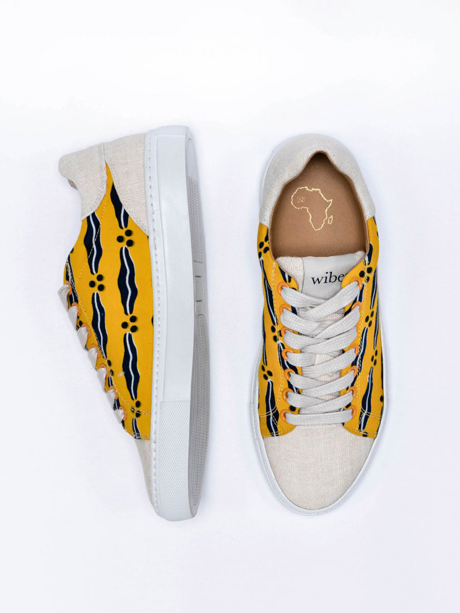 Releve Fashion Wibes Yellow Blue and White Akwaba Sanata Trainers Sneakers Ethical Designers Sustainable Fashion Brands Purchase with Purpose Shop for Good