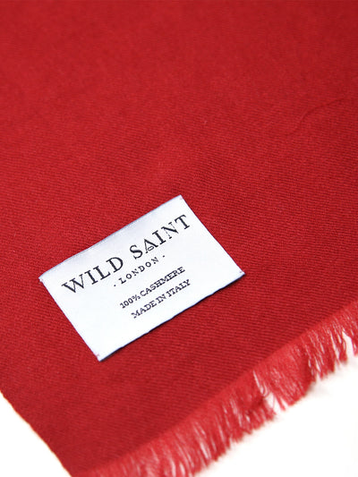 Releve Fashion Wild Saint London Berry Lightweight 100% Cashmere Scarf Sustainable Luxury Fashion Conscious Clothing and Accessories Ethical Designer Brand Animal-friendly Cruelty-free Handcrafted Purchase with Purpose Shop for Good