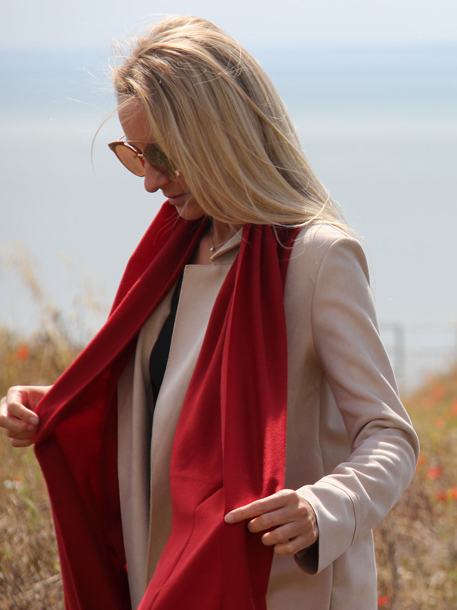 Lightweight 100% Cashmere Scarf, Berry