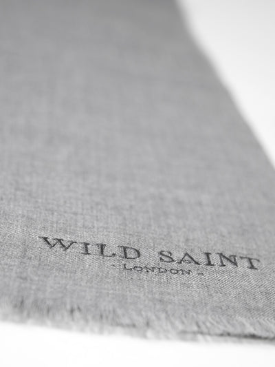 Releve Fashion Wild Saint London Grey Lightweight 100% Cashmere Scarf Sustainable Luxury Fashion Conscious Clothing and Accessories Ethical Designer Brand Animal-friendly Cruelty-free Handcrafted Purchase with Purpose Shop for Good