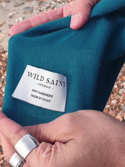 Releve Fashion Wild Saint London Teal Lightweight 100% Cashmere Scarf Sustainable Luxury Fashion Conscious Clothing and Accessories Ethical Designer Brand Animal-friendly Cruelty-free Handcrafted Purchase with Purpose Shop for Good