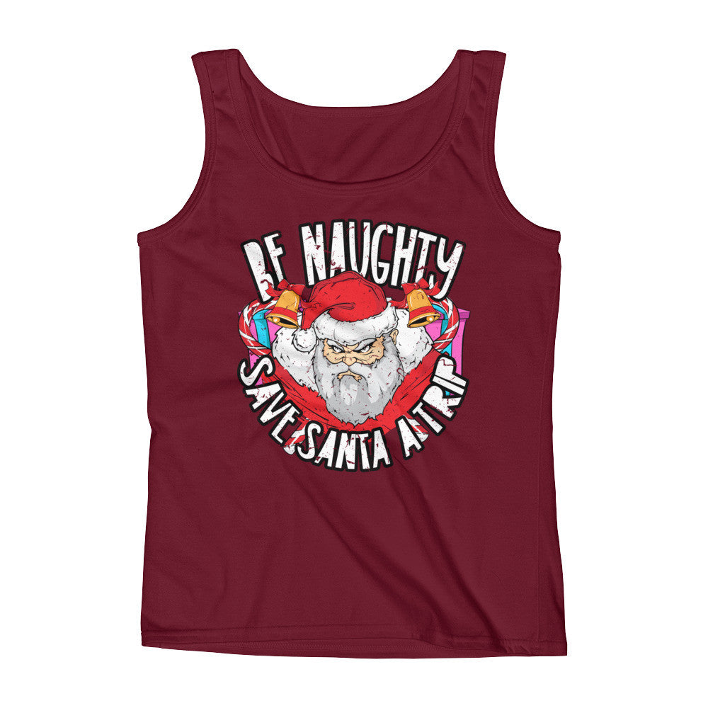 ladies-tank-be-naughty-save-santa-a-trip-brown