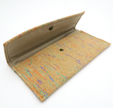 Natural Cork Handmade Women Long Holder Phone and Money Wallet - Colourful & Natural