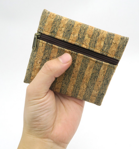 Natural Cork Handmade Women Coin Purse with Zipper - Four Designs!