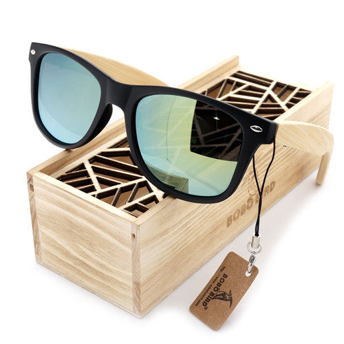 Summer Time Bamboo Mens Vintage Black Square Sunglasses - Comes in Unique Wood Box!