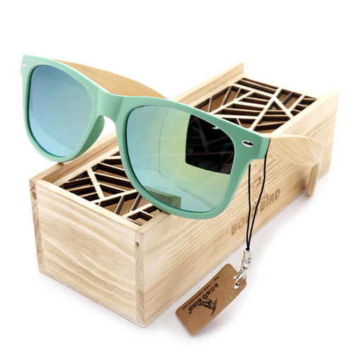 Summer Time Bamboo Unisex Cute Green Sunglasses - Comes in Unique Wood Box!