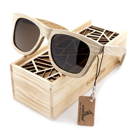 Summer Time Bamboo Unisex Cute Brown Sunglasses - Sustainable Material and Handcrafted!