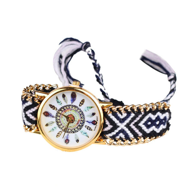 Spirit Seeker: Feather Faced Weaving Lady Bracelet Watch - 9 Designs!