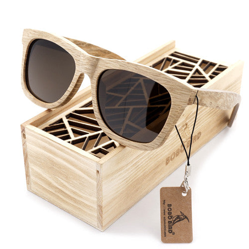 Summer Time Bamboo Unisex Brown Wood Square Sunglasses - With Polarized UV 400 Protection Eyewear!
