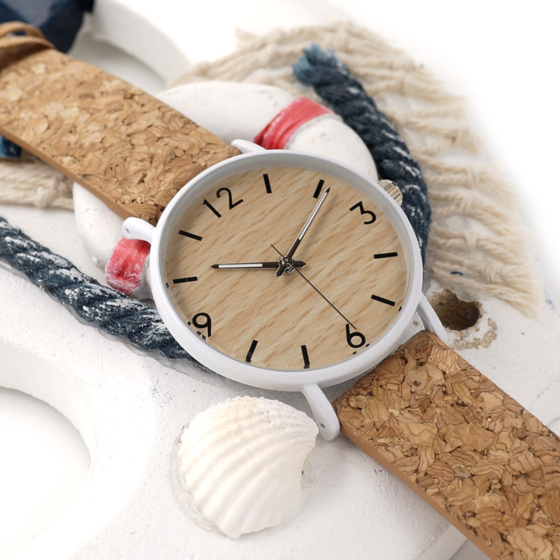 bamboo-unisex-watch-dial-with-cork-leather-band-clock