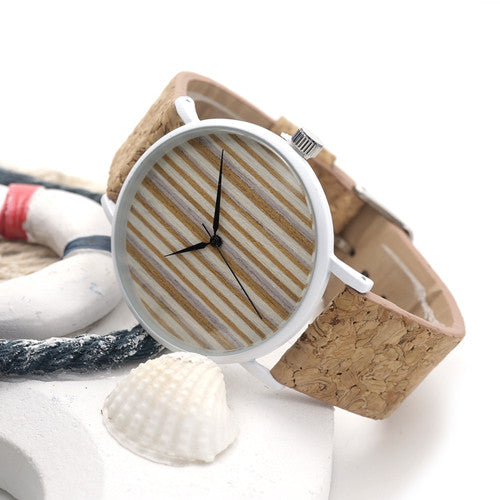 bamboo-unisex-watch-dial-with-cork-leather-band-beach
