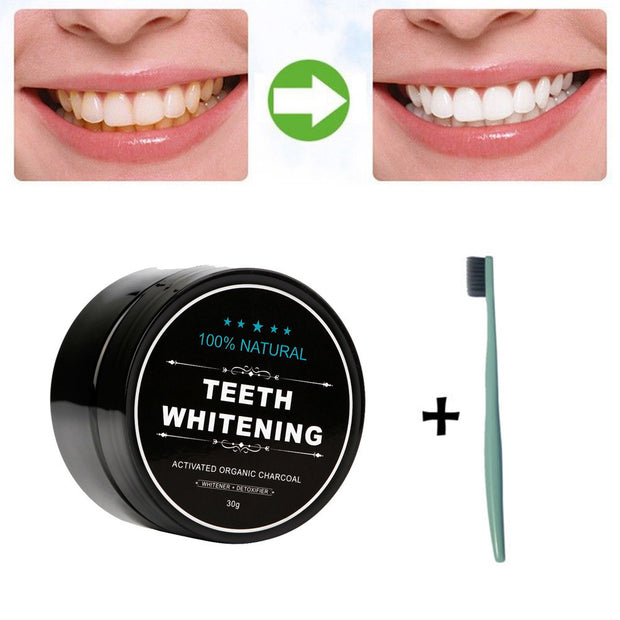 Toothpaste: Activated Charcoal Bamboo Whitening Powder with Tooth Brush